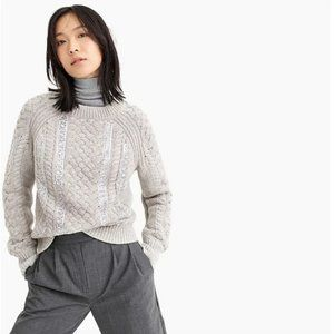 J. Crew Gray Sequin Cable Knit Merino Wool Sweater